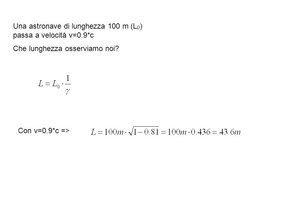 Una astronave di lunghezza 100 m (L 0 ) passa a velocità v=0.9*c Che lunghezza osserviamo noi? Con v=0.9*c =>