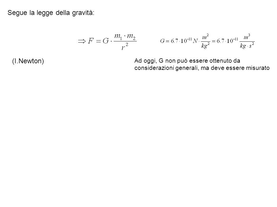 Segue la legge della gravità: Ad oggi, G non può essere ottenuto da considerazioni generali, ma deve essere misurato (I.Newton)