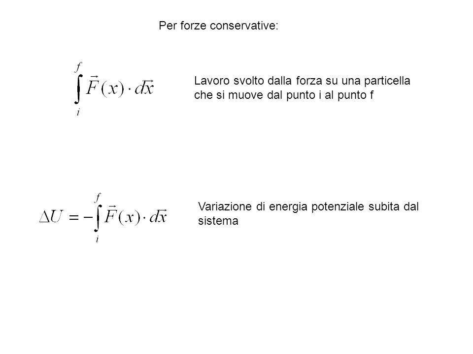 Lavoro svolto dalla forza su una particella che si muove dal punto i al punto f Variazione di energia potenziale subita dal sistema Per forze conserva