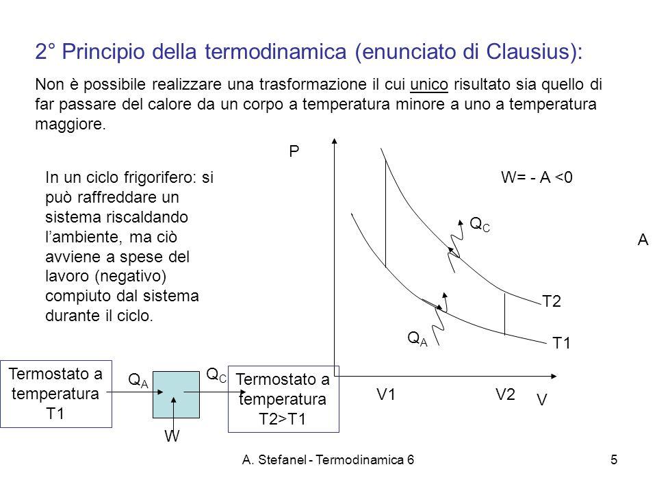 A. Stefanel - Termodinamica 65 2° Principio della termodinamica (enunciato di Clausius): Non è possibile realizzare una trasformazione il cui unico ri