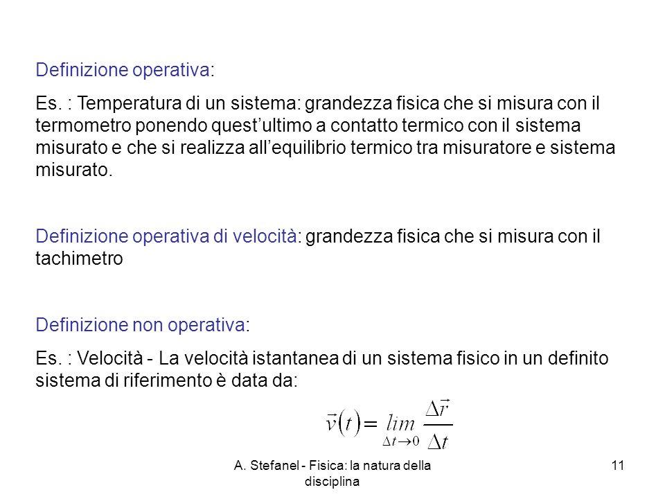 A. Stefanel - Fisica: la natura della disciplina 11 Definizione operativa: Es. : Temperatura di un sistema: grandezza fisica che si misura con il term