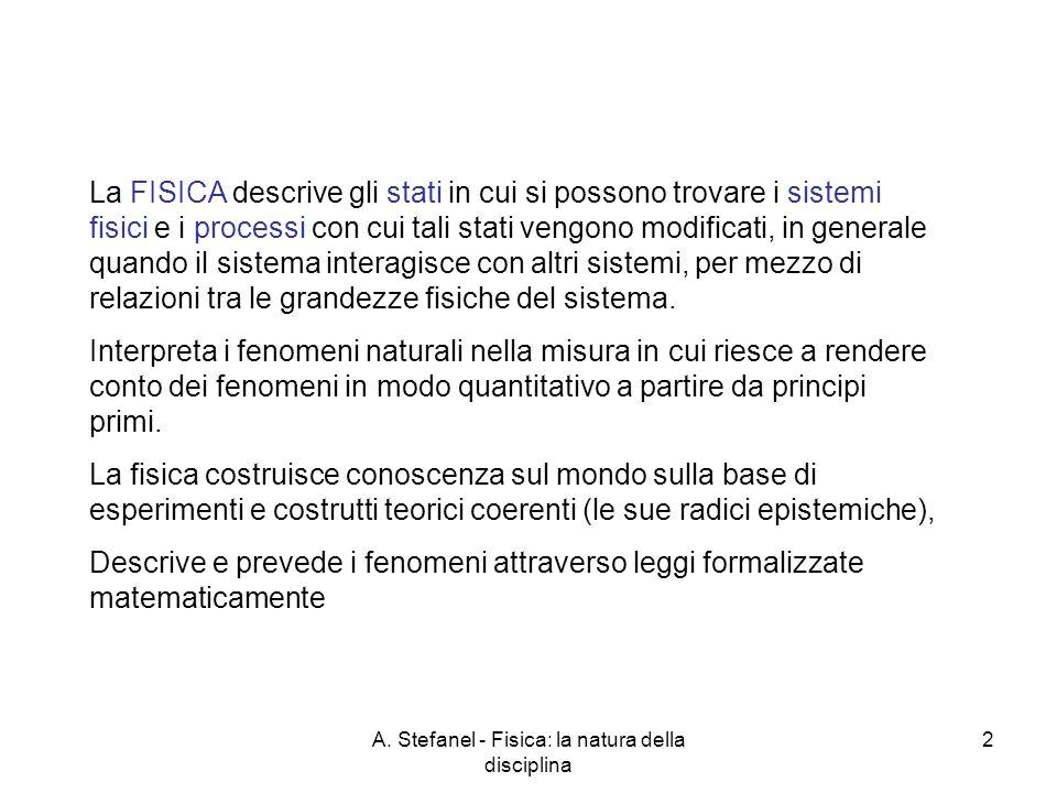 A. Stefanel - Fisica: la natura della disciplina 2 La FISICA descrive gli stati in cui si possono trovare i sistemi fisici e i processi con cui tali s