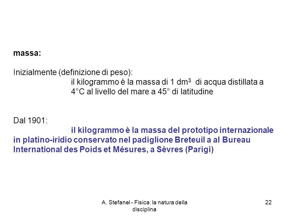 A. Stefanel - Fisica: la natura della disciplina 22 massa: Inizialmente (definizione di peso): il kilogrammo è la massa di 1 dm 3 di acqua distillata