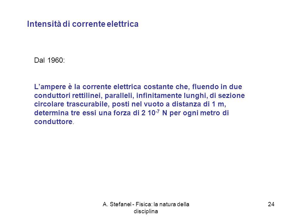 A. Stefanel - Fisica: la natura della disciplina 24 Intensità di corrente elettrica Dal 1960: Lampere è la corrente elettrica costante che, fluendo in