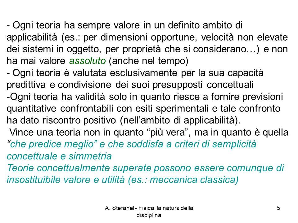 A. Stefanel - Fisica: la natura della disciplina 5 - Ogni teoria ha sempre valore in un definito ambito di applicabilità (es.: per dimensioni opportun