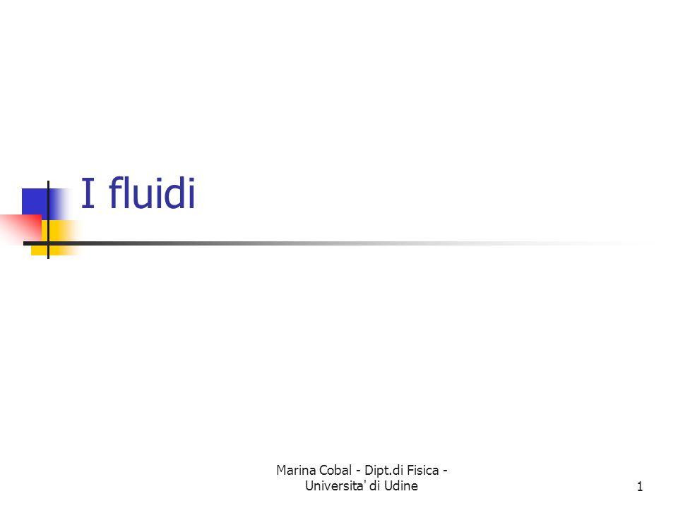 Marina Cobal - Dipt.di Fisica - Universita di Udine22 La legge di Stevino Consideriamo un fluido ideale soggetto alla gravità Pressioni e peso debbono dare risultante zero z P(z) P(z)+dp dS