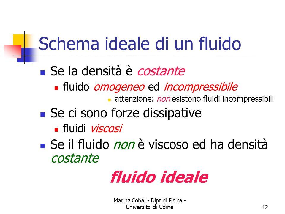 Marina Cobal - Dipt.di Fisica - Universita' di Udine12 Schema ideale di un fluido Se la densità è costante fluido omogeneo ed incompressibile attenzio