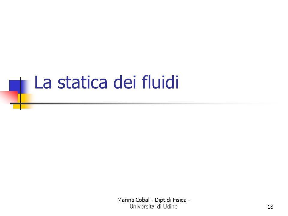 Marina Cobal - Dipt.di Fisica - Universita' di Udine18 La statica dei fluidi