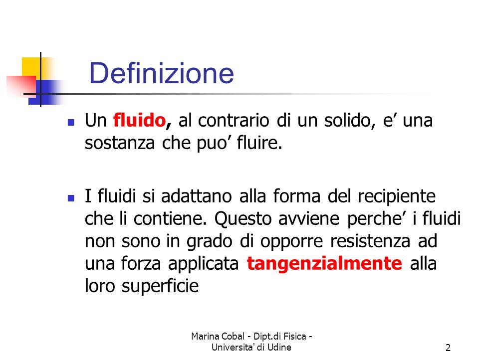 Marina Cobal - Dipt.di Fisica - Universita di Udine13 Un fluido ha in genere la densità che varia da punto a punto, con continuità quindi ad ogni punto dello spazio è assegnato uno scalare una funzione del punto, oltre che del tempo Viene definito così un campo scalare Schema ideale di un fluido
