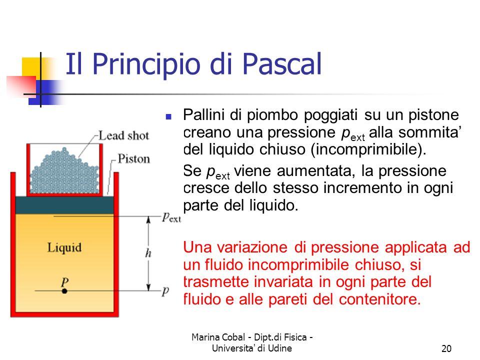 Marina Cobal - Dipt.di Fisica - Universita' di Udine20 Il Principio di Pascal Pallini di piombo poggiati su un pistone creano una pressione p ext alla