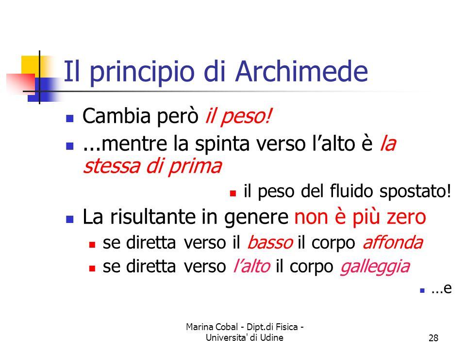 Marina Cobal - Dipt.di Fisica - Universita' di Udine28 Il principio di Archimede Cambia però il peso!...mentre la spinta verso lalto è la stessa di pr