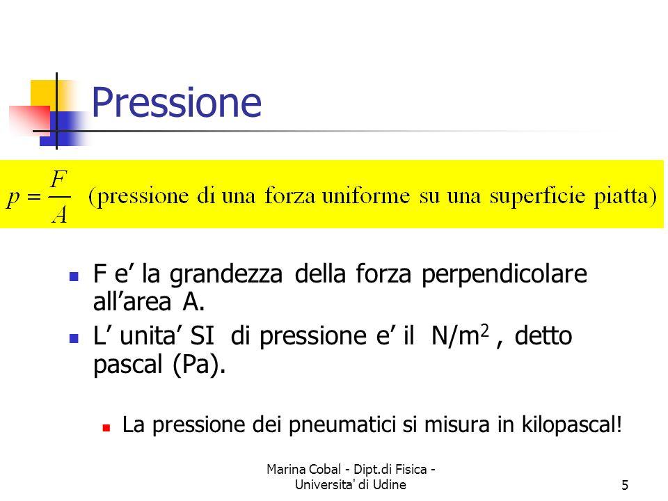 Marina Cobal - Dipt.di Fisica - Universita di Udine6 Pressione Supponiamo che su una superficie agisca una forza Definiremo come pressione sulla superficie il vettore Il vettore è perpendicolare alla superficie In genere esistono anche forze tangenti attenzione: ci possono essere anche pressioni negative...