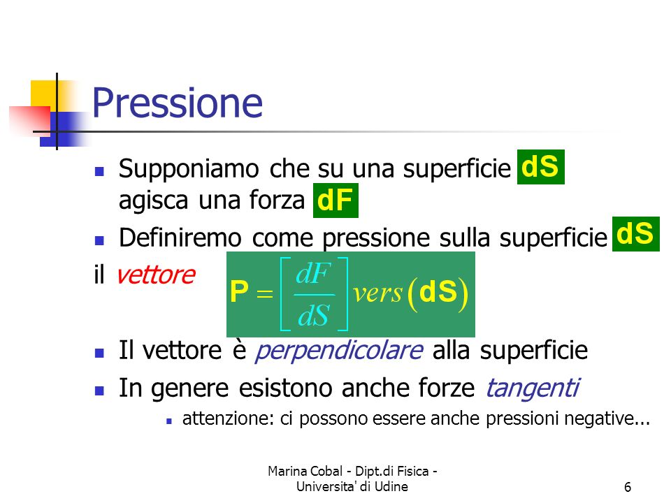 Marina Cobal - Dipt.di Fisica - Universita' di Udine6 Pressione Supponiamo che su una superficie agisca una forza Definiremo come pressione sulla supe