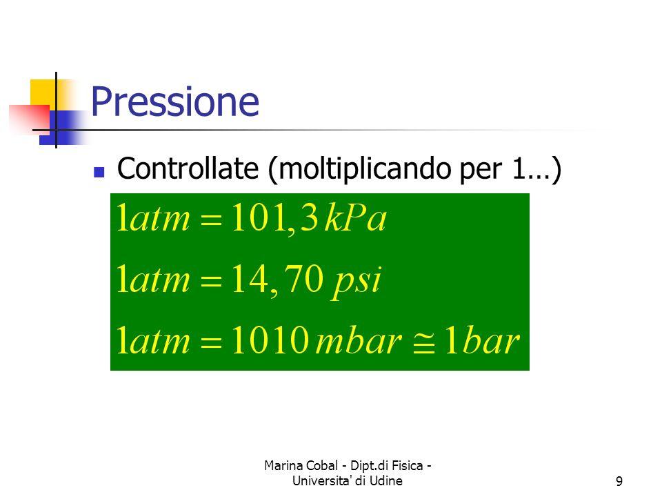 Marina Cobal - Dipt.di Fisica - Universita di Udine30 Principio di Archimede Determinare la forza che agisce sul cubo F B = F 2 – F 1 = P 2 A – P 1 A = (P 2 – P 1 )A = g d A = g V La spinta idrostatica e il peso del fluido spostato