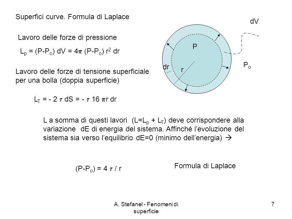 A. Stefanel - Fenomeni di superficie 7 Superfici curve. Formula di Laplace PoPo P L p = (P-P o ) dV = 4 (P-P o ) r 2 dr dV dr r Lavoro delle forze di
