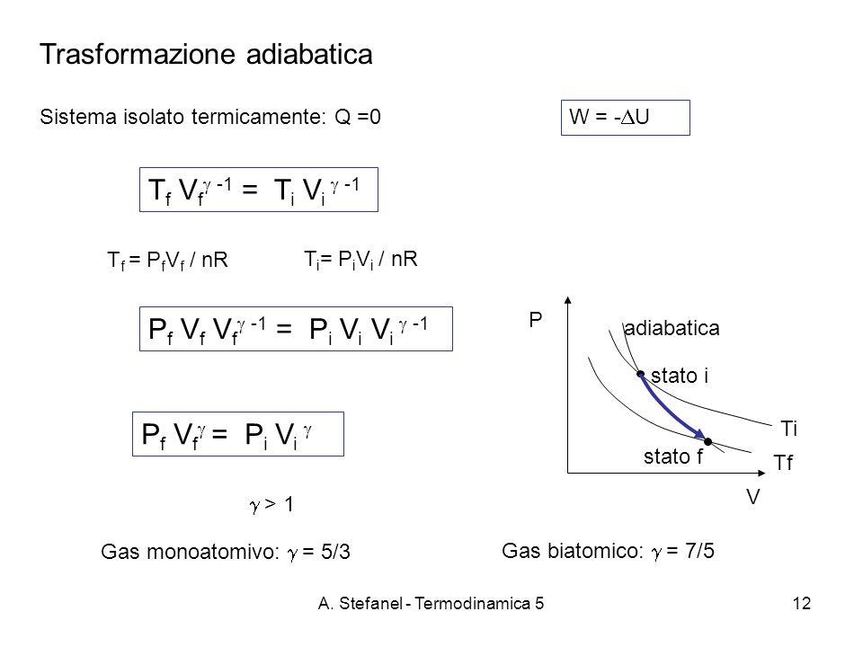 A. Stefanel - Termodinamica 512 Trasformazione adiabatica Sistema isolato termicamente: Q =0 W = - U P V Tf Ti adiabatica T f V f -1 = T i V i -1 stat