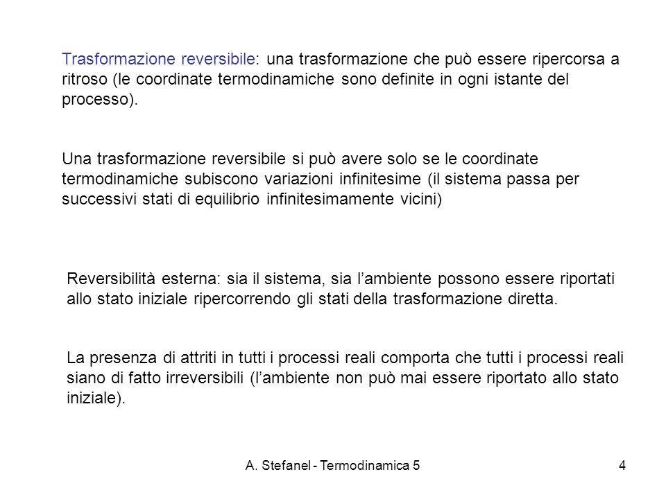 A. Stefanel - Termodinamica 54 Trasformazione reversibile: una trasformazione che può essere ripercorsa a ritroso (le coordinate termodinamiche sono d