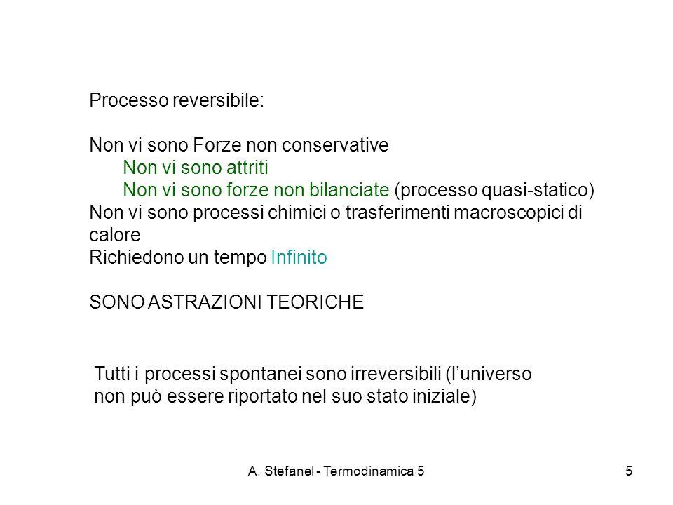 A. Stefanel - Termodinamica 55 Processo reversibile: Non vi sono Forze non conservative Non vi sono attriti Non vi sono forze non bilanciate (processo