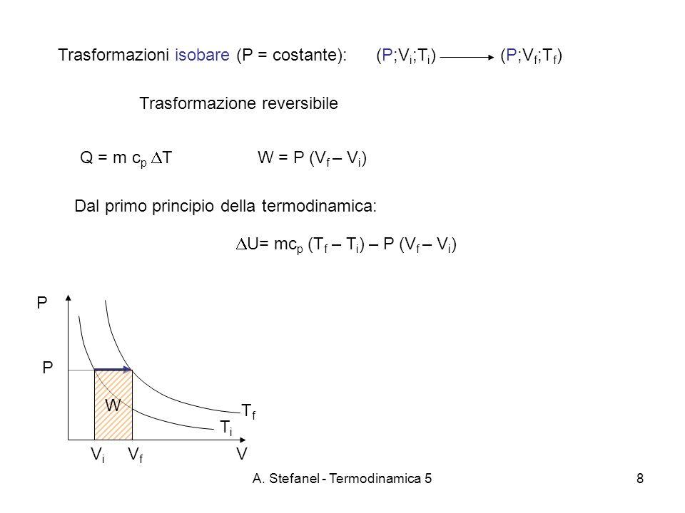 A. Stefanel - Termodinamica 58 Trasformazioni isobare (P = costante): Trasformazione reversibile (P;V i ;T i )(P;V f ;T f ) Dal primo principio della