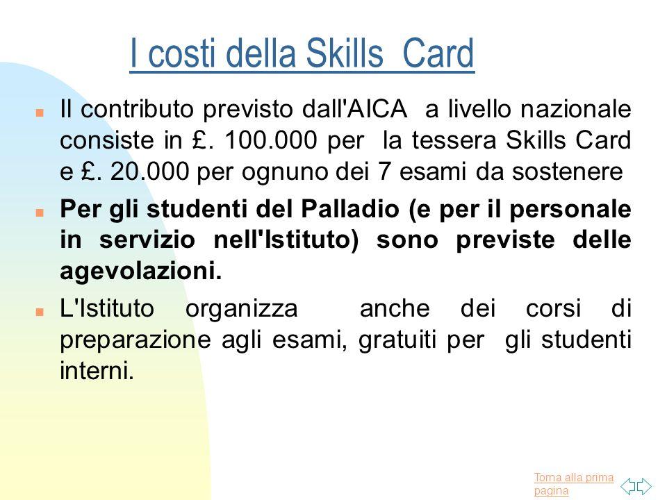 Torna alla prima pagina I costi della Skills Card n Il contributo previsto dall AICA a livello nazionale consiste in £.