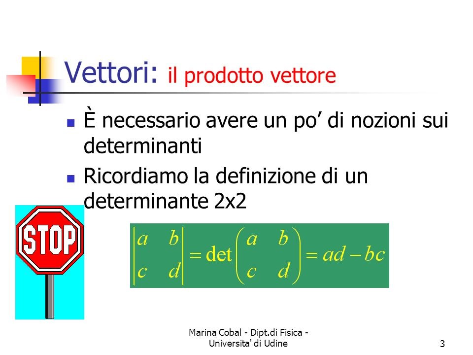 Marina Cobal - Dipt.di Fisica - Universita' di Udine3 È necessario avere un po di nozioni sui determinanti Ricordiamo la definizione di un determinant