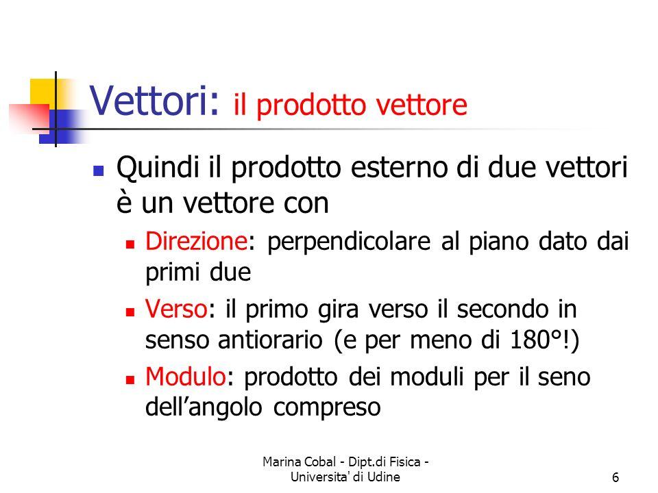 Marina Cobal - Dipt.di Fisica - Universita' di Udine6 Vettori: il prodotto vettore Quindi il prodotto esterno di due vettori è un vettore con Direzion