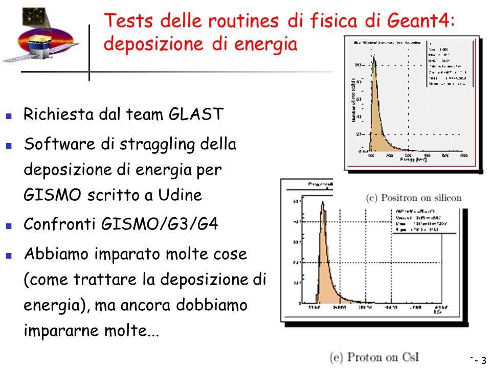 Sw GLAST - 4 La simulazione di GLAST e lesempio di fisica spaziale nel package Geant4...