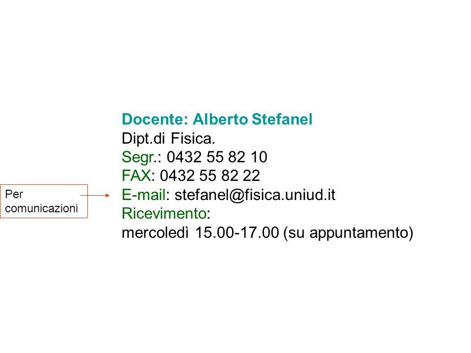Docente: Alberto Stefanel Dipt.di Fisica.