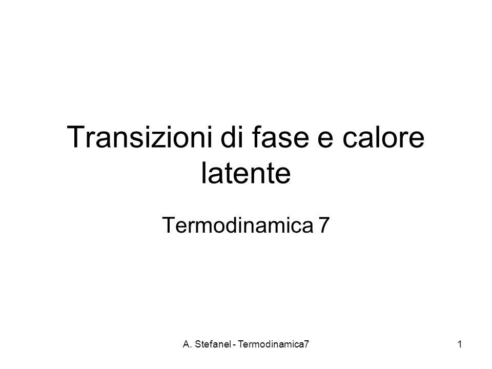 A. Stefanel - Termodinamica71 Transizioni di fase e calore latente Termodinamica 7