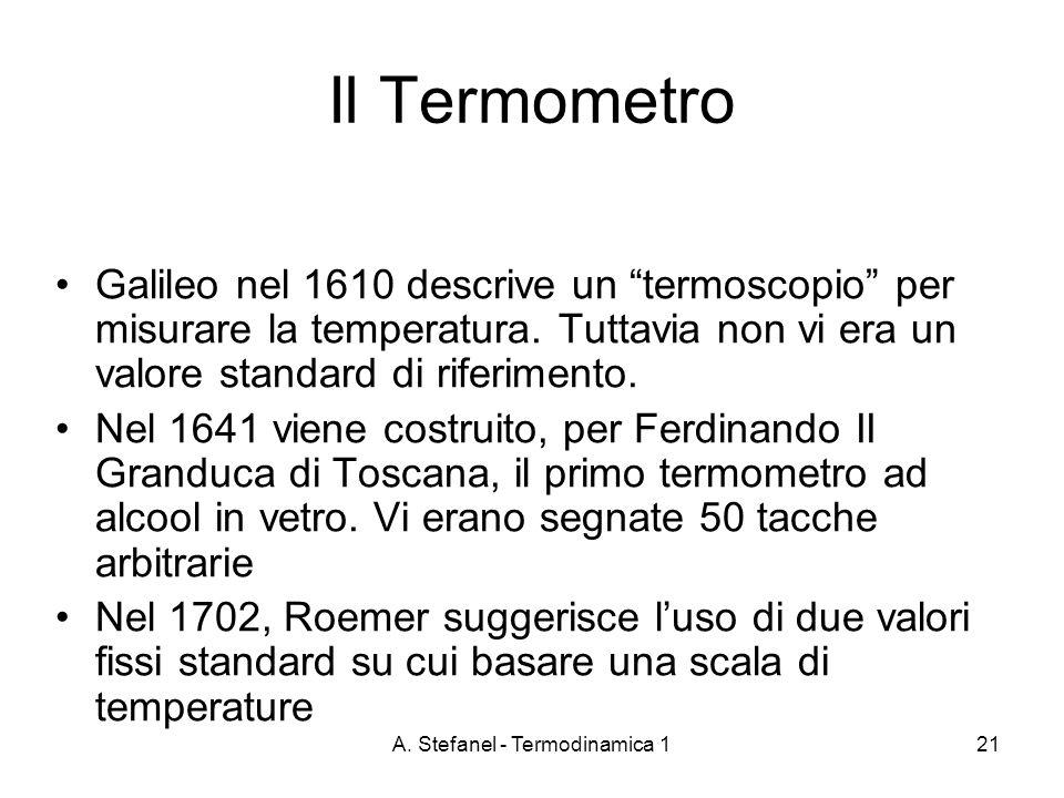 A. Stefanel - Termodinamica 121 Il Termometro Galileo nel 1610 descrive un termoscopio per misurare la temperatura. Tuttavia non vi era un valore stan