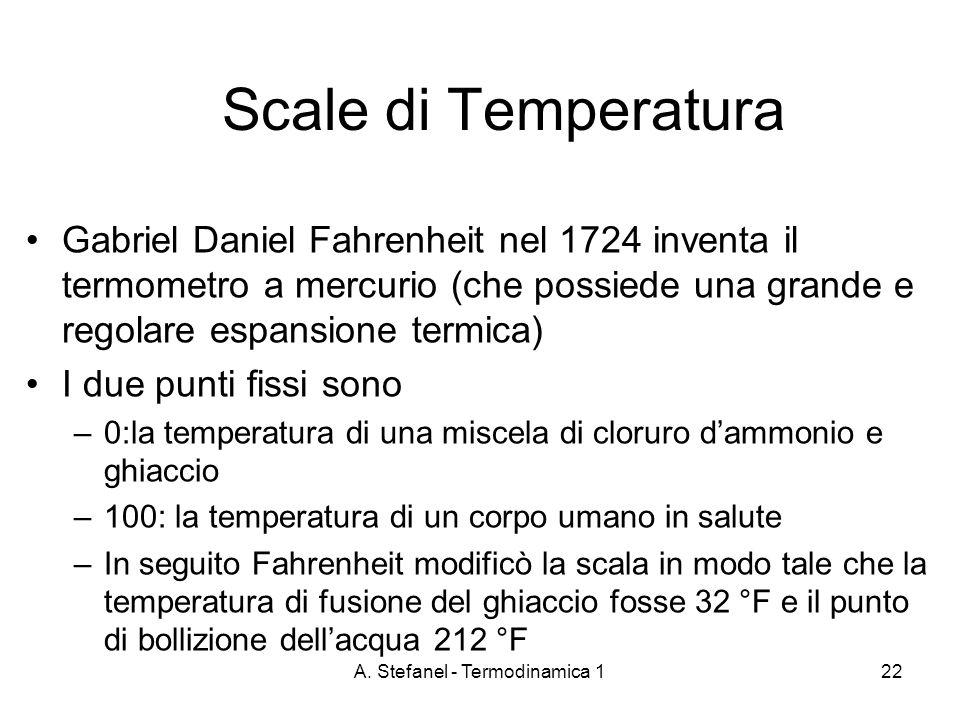 A. Stefanel - Termodinamica 122 Scale di Temperatura Gabriel Daniel Fahrenheit nel 1724 inventa il termometro a mercurio (che possiede una grande e re
