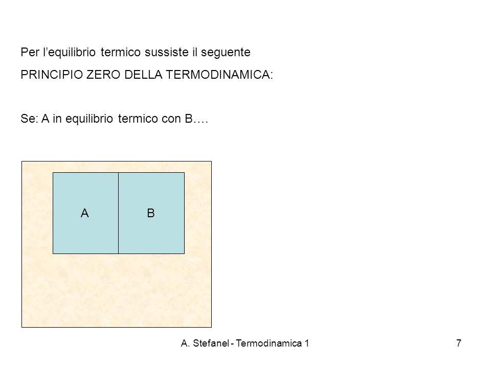 A. Stefanel - Termodinamica 17 Per lequilibrio termico sussiste il seguente PRINCIPIO ZERO DELLA TERMODINAMICA: Se: A in equilibrio termico con B…. AB