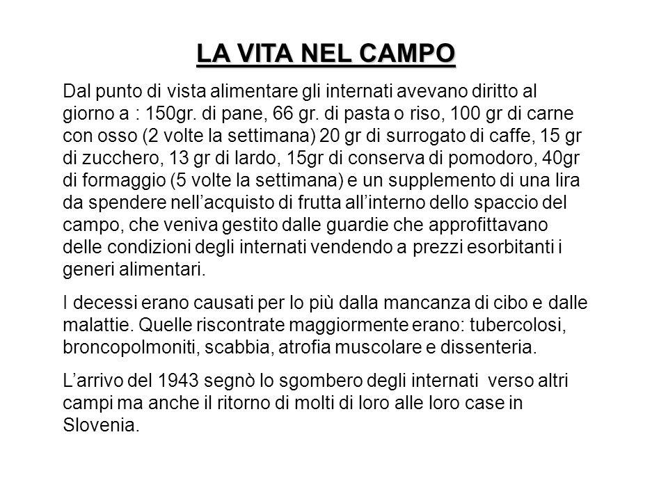 LA VITA NEL CAMPO Dal punto di vista alimentare gli internati avevano diritto al giorno a : 150gr. di pane, 66 gr. di pasta o riso, 100 gr di carne co