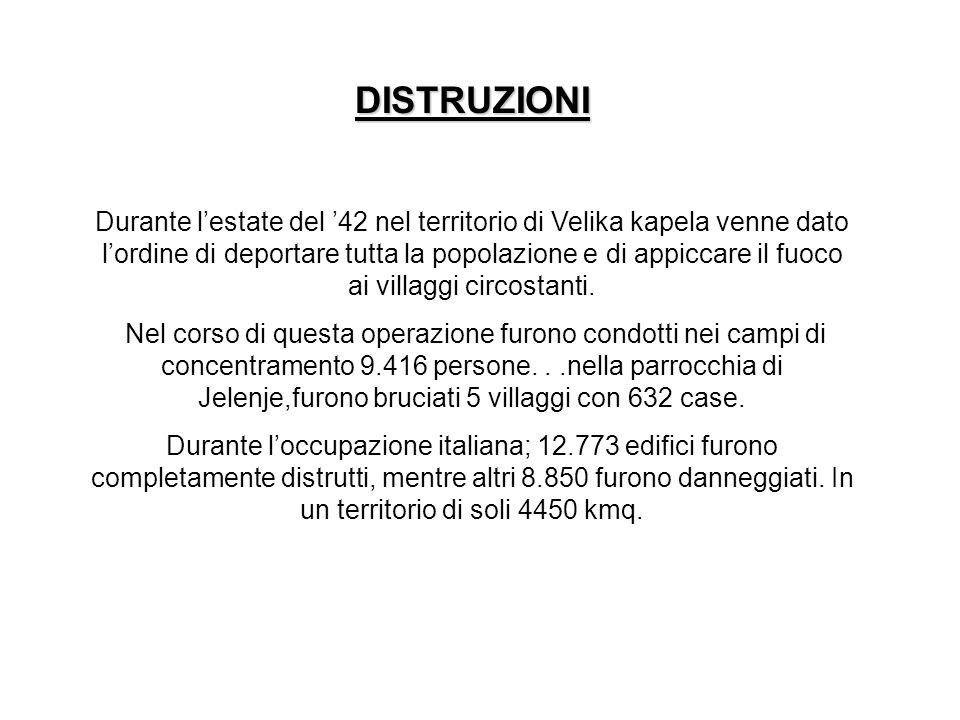 ESECUZIONI Dietro di sé, loccupazione italiana in Slovenia lasciò un tragico bilancio costituito da: 2.500 civili fucilati sul posto durante i rastrellamenti, 103 massacrati in vario modo, 900 partigiani uccisi, nonché le decine di ostaggi uccisi per rappresaglia ed i 7.000 morti nei campi di concentramento italiani.
