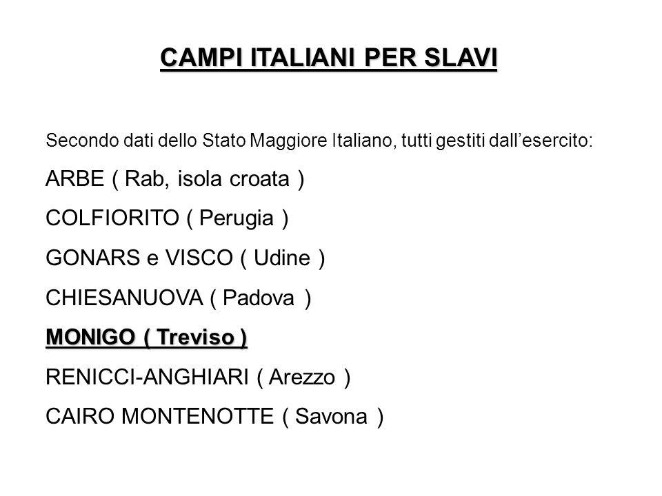CAMPI ITALIANI PER SLAVI Secondo dati dello Stato Maggiore Italiano, tutti gestiti dallesercito: ARBE ( Rab, isola croata ) COLFIORITO ( Perugia ) GON