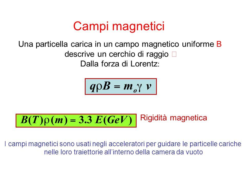 Campi magnetici Una particella carica in un campo magnetico uniforme B descrive un cerchio di raggio Dalla forza di Lorentz : Rigidità magnetica I campi magnetici sono usati negli acceleratori per guidare le particelle cariche nelle loro traiettorie allinterno della camera da vuoto