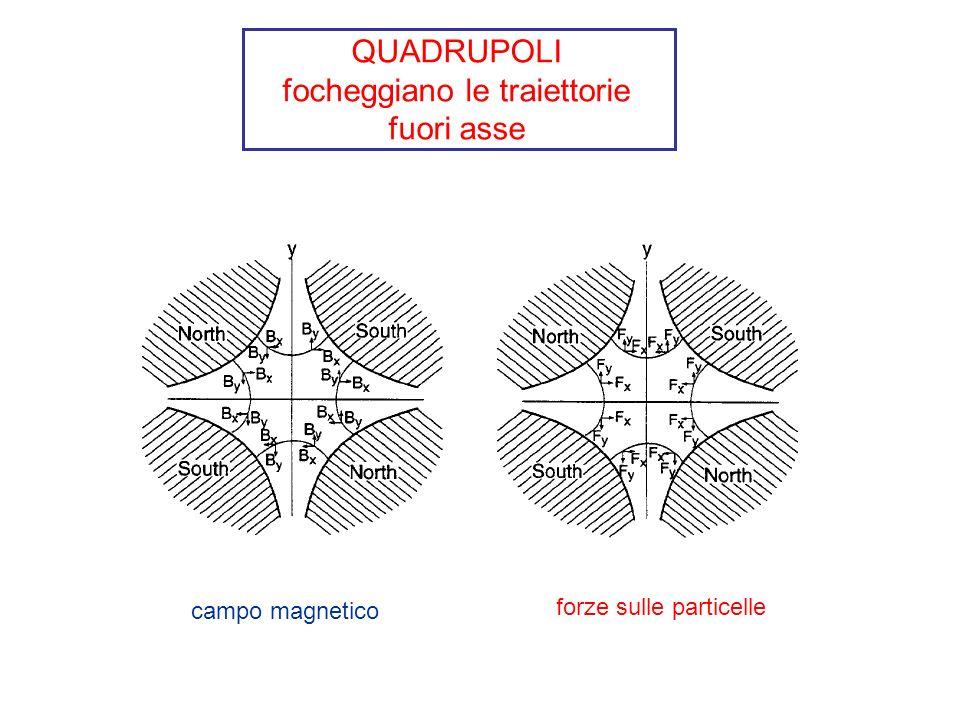 QUADRUPOLI focheggiano le traiettorie fuori asse campo magnetico forze sulle particelle