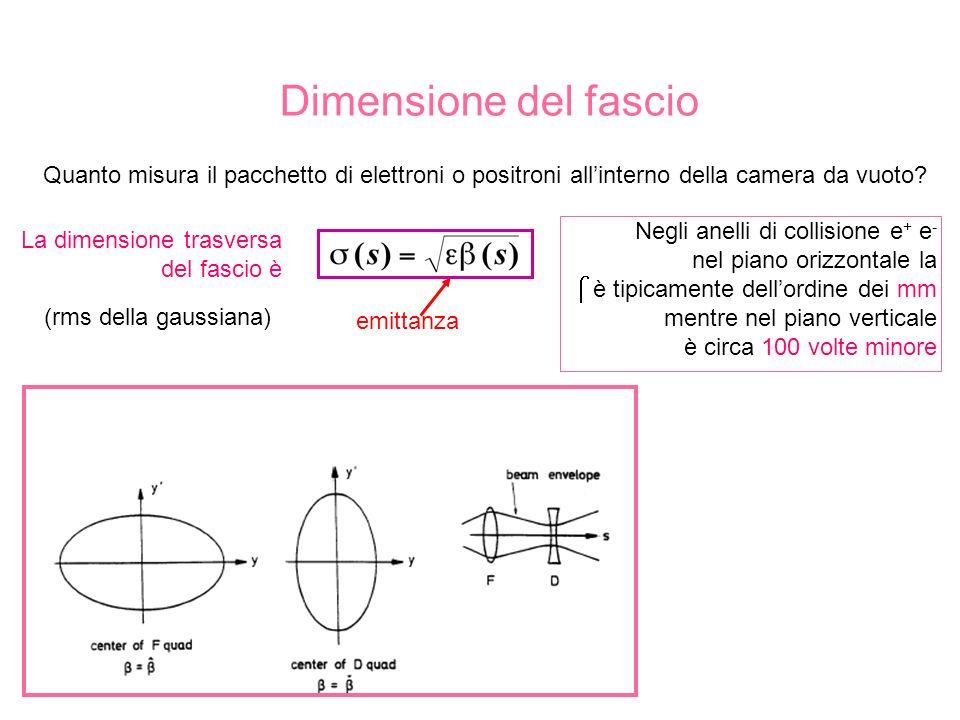 Dimensione del fascio La dimensione trasversa del fascio è Quanto misura il pacchetto di elettroni o positroni allinterno della camera da vuoto.