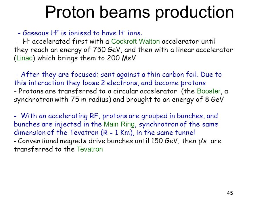 45 - Gaseous H 2 is ionised to have H - ions. - H - accelerated first with a Cockroft Walton accelerator until they reach an energy of 750 GeV, and th