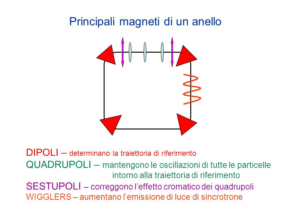 Principali magneti di un anello DIPOLI – determinano la traiettoria di riferimento QUADRUPOLI – mantengono le oscillazioni di tutte le particelle intorno alla traiettoria di riferimento SESTUPOLI – correggono leffetto cromatico dei quadrupoli WIGGLERS – aumentano lemissione di luce di sincrotrone