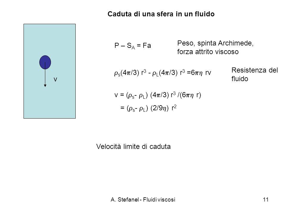 A. Stefanel - Fluidi viscosi11 P – S A = Fa Peso, spinta Archimede, forza attrito viscoso s (4 /3) r 3 - L (4 /3) r 3 =6 rv v = ( s - L ) (4 /3) r 3 /