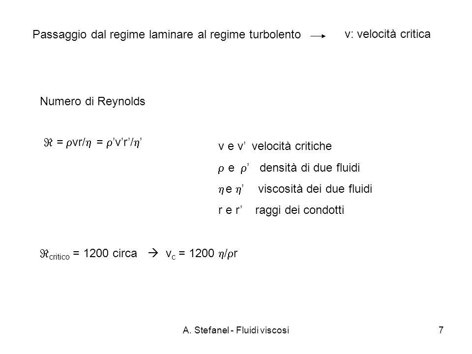 A. Stefanel - Fluidi viscosi7 Numero di Reynolds = vr/ = vr/ v e v velocità critiche e densità di due fluidi e viscosità dei due fluidi r e r raggi de
