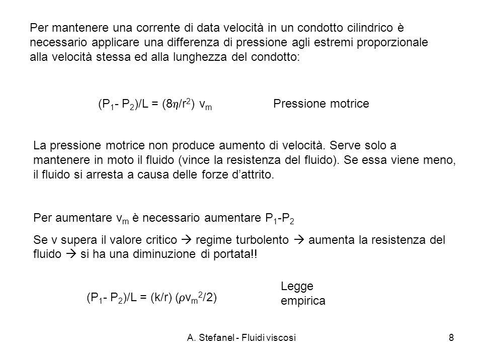 A. Stefanel - Fluidi viscosi8 Per mantenere una corrente di data velocità in un condotto cilindrico è necessario applicare una differenza di pressione