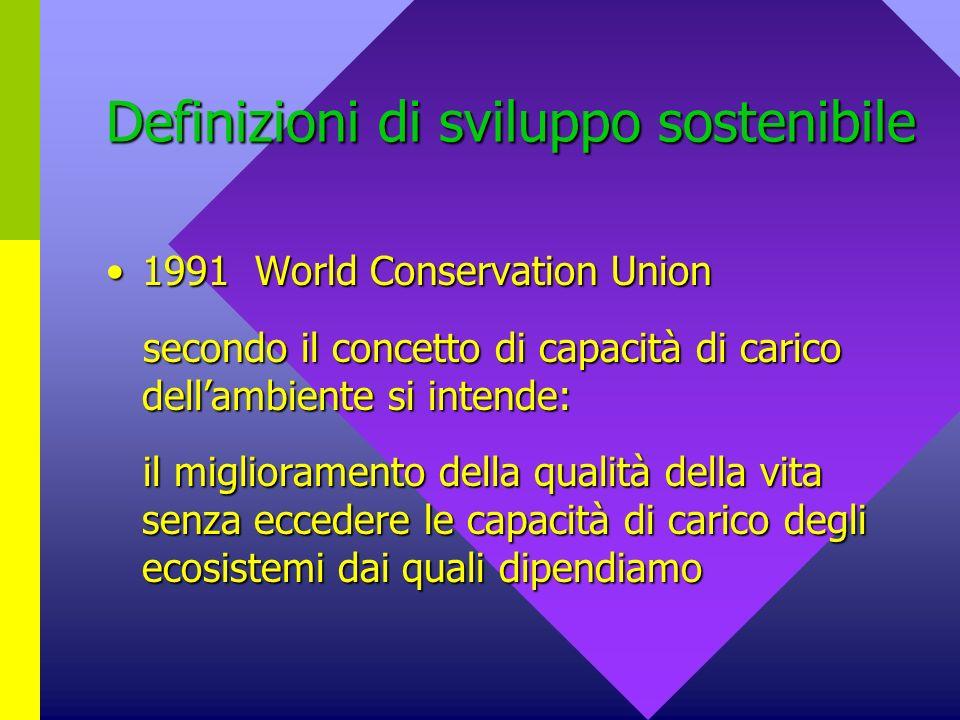 Definizioni di sviluppo sostenibile 1996 World Bank1996 World Bank la sostenibilità del sistema Società, Economia, Ecologia comporta la necessità di lasciare alle future generazioni almento tante opportunità quante ne abbiamo avute noi la sostenibilità del sistema Società, Economia, Ecologia comporta la necessità di lasciare alle future generazioni almento tante opportunità quante ne abbiamo avute noi