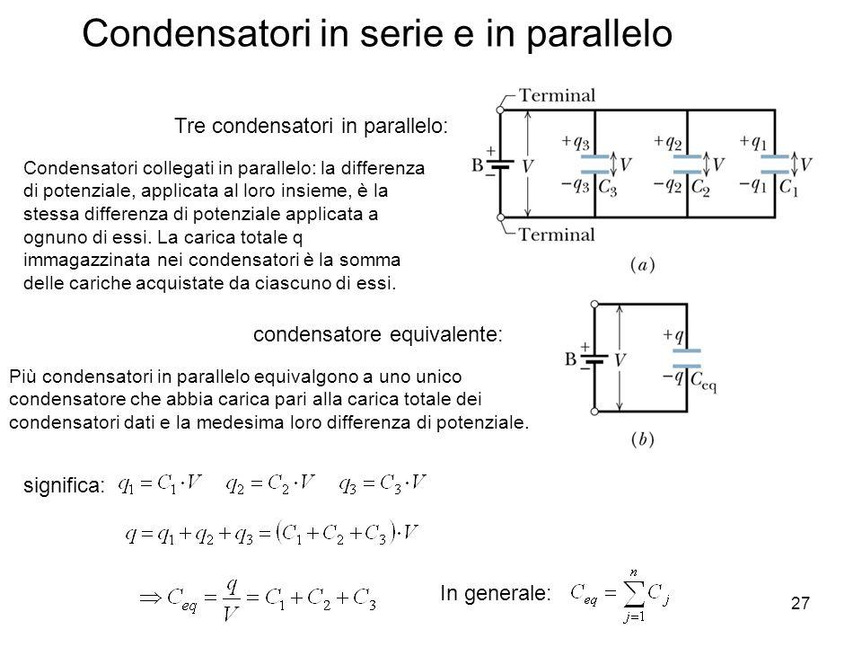 27 Condensatori in serie e in parallelo condensatore equivalente: Tre condensatori in parallelo: Condensatori collegati in parallelo: la differenza di