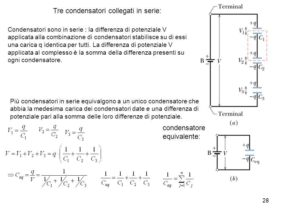 28 Tre condensatori collegati in serie: Condensatori sono in serie : la differenza di potenziale V applicata alla combinazione di condensatori stabili