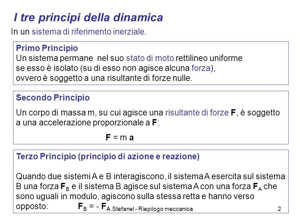 A.Stefanel - Riepilogo meccanica3 I tre principi della dinamica Primo Principio - sistema di riferimento inerziale - stato di moto (velocità) - per modificare lo stato di moto interazioni Secondo Principio F = m a (F: risultante delle forze) Nota la risultante delle forze nota laccelerazione (è definito il modello fisico) Date le condizioni iniziali legge oraria ; traiettoria (è definito lo specifico processo) In un sistema di riferimento inerziale.