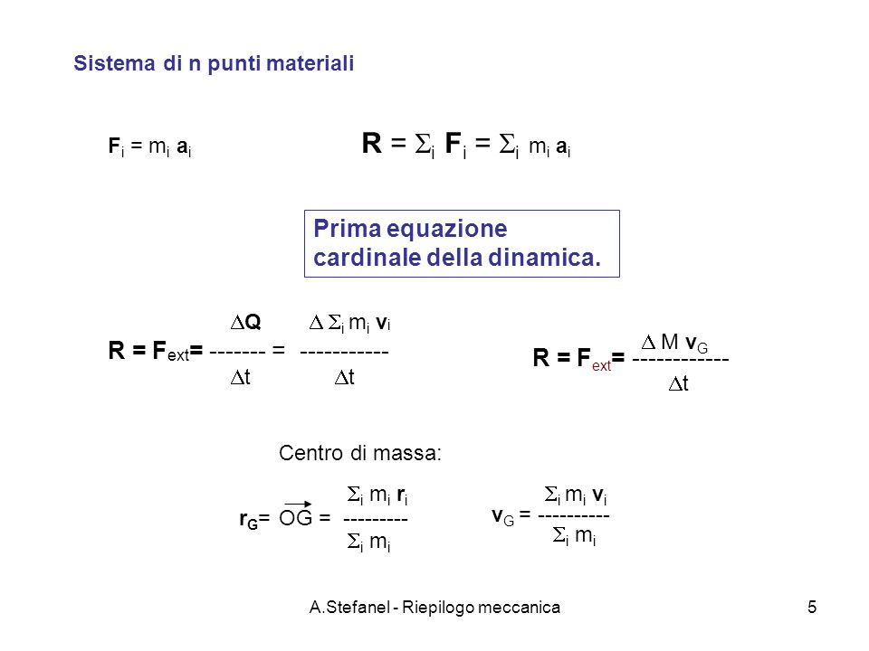 A.Stefanel - Riepilogo meccanica16 m2m2 m1m1 La macchina di Atwood Masse m1 e m2 agli estremi del cavo perfettamente flessibile e inestensibile Puleggia di massa M e raggio R Momento di inerzia: I = M R 2 /2 A Dalla prima equazione cardinale applicata alla puleggia T3T3 T1T1 T2T2 x y z T 3 = gm 1 +gm 2 M = T 2 r k – T 1 r k Seconda equazione cardinale applicata alla puleggia k : versore asse z piano x,y su cui giacciono i vettori T 1, T 2 e r.