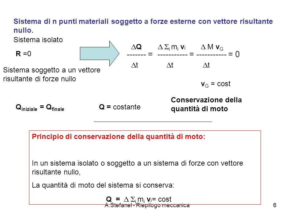 A.Stefanel - Riepilogo meccanica17 m2m2 m1m1 La macchina di Atwood Masse m1 e m2 agli estremi del cavo perfettamente flessibile e inestensibile Puleggia di massa M e raggio R Momento di inerzia: I = M R 2 /2 A Dalla prima equazione cardinale applicata alla puleggia T3T3 T1T1 T2T2 x y z T 3 = gm 1 +gm 2 Seconda equazione cardinale applicata alla puleggia M = d L / dt T 2 r k – T 1 r k = (I + m 2 r 2 - m 1 r 2 ) (d /dt) k d /dt = (T 2 – T 1 )r / (I + m 2 r 2 - m 1 r 2 ) La puleggia si muove con accelerazione angolare costante