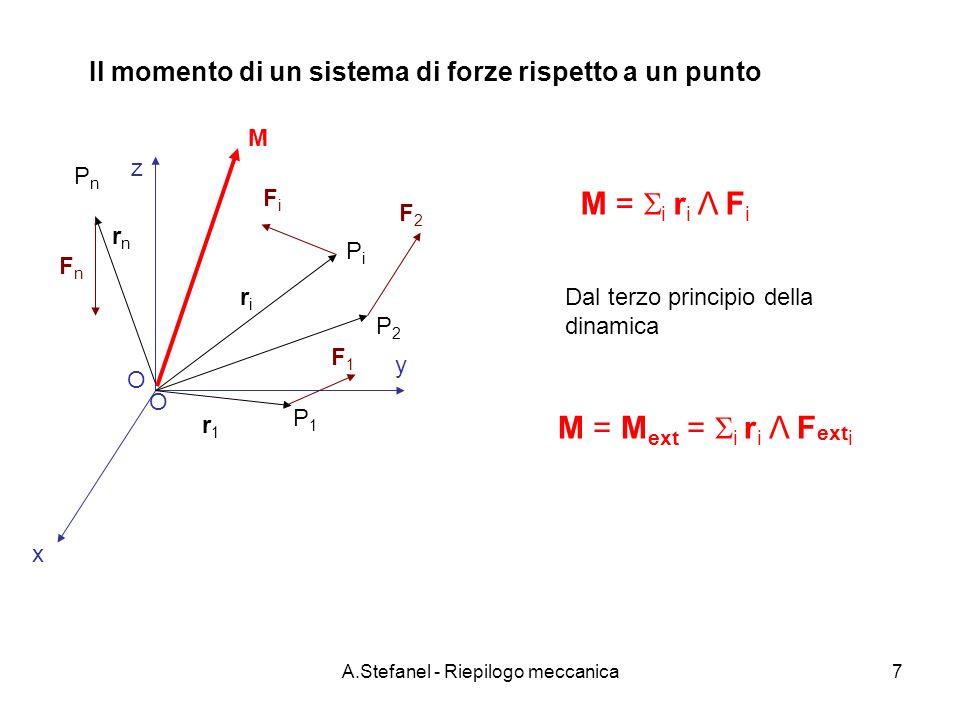 A.Stefanel - Riepilogo meccanica8 Il momento di un sistema di forze rispetto a asse O riri PiPi FiFi M n =(M·n) n = [( i r i Λ F i )·n]n = ( i b i F i )n r1r1 F1F1 P1P1 P2P2 F2F2 FnFn rnrn PnPn n bibi b2b2 b1b1 bnbn